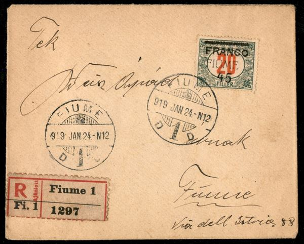 ITALIA / Occupazioni I guerra mondiale / Fiume / Raccomandata