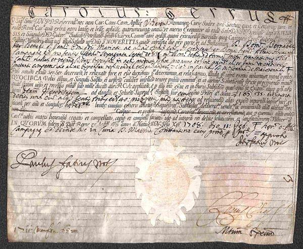 1708 - Carolus Cerrus/Prot. Apostolic. - fronte retro con sigilli