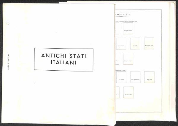 MATERIALE FILATELICO - Pagine Marini 2 fori - Antichi stati completi con taschine + ripetizioni - 49 pagine - buone condizioni
