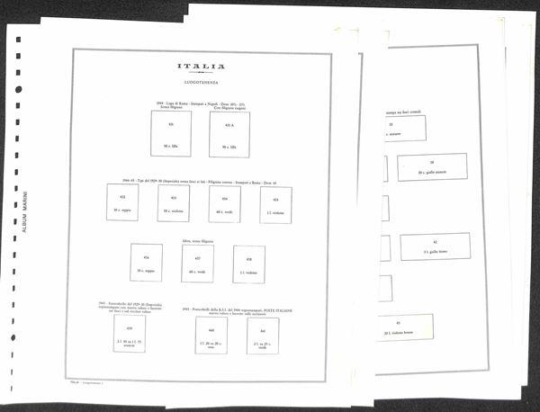MATERIALE FILATELICO - Pagine Marini 22 fori - LUOGOTENENZA completi con taschine - 7 pagine - ottime condizioni