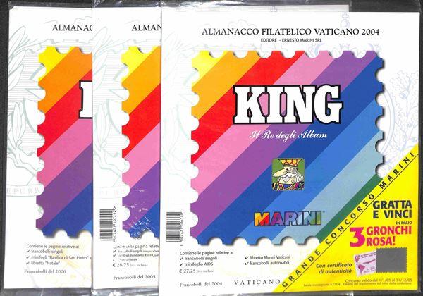MATERIALE FILATELICO - Pagine Marini 22 fori Almanacco Filatelico - VATICANO 2004/2006 completi con taschine - perfette condizioni