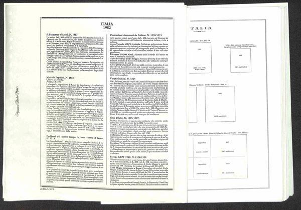 MATERIALE FILATELICO - Pagine Marini 22 fori - REPUBBLICA con almanacco filatelico dal 1982 al 1987 completi con taschine - ottime condizioni