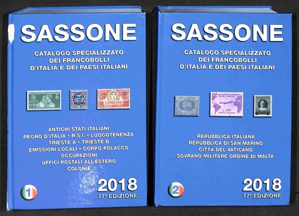 BIBLIOTECA FILATELICA - Catalogo Sassone dei francobolli d'Italia e dei paesi italiani I e II volume - edizione 2018 - buone condizioni