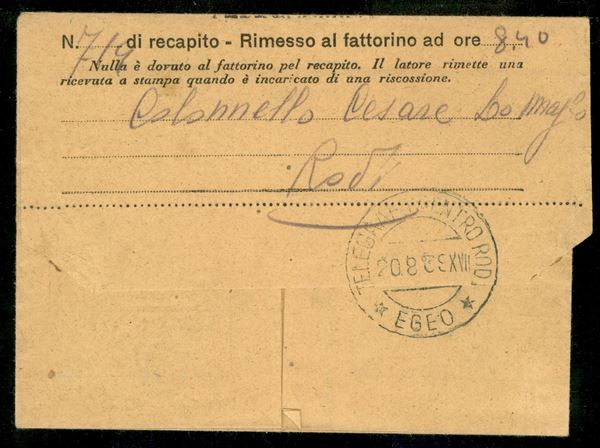 ITALIA / Colonie / Egeo / Emissioni generali